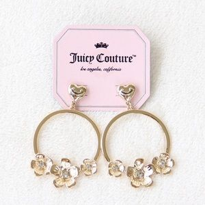 Juicy Couture Gold Flower Hoop Earrings